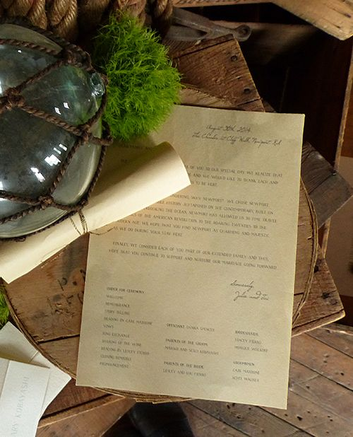 Newport Rhode Island Scroll Style Wedding Program By Shindig Bespoke