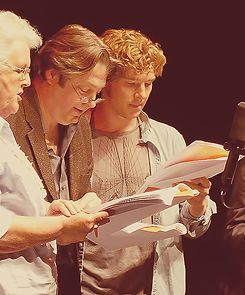 """The glorious goddess Stephanie Cole; the versatile and hilarious Roger Allam; and the gifted Benedict Cumberbatch, taping the BBC radio sitcom, """"Cabin Pressure."""""""