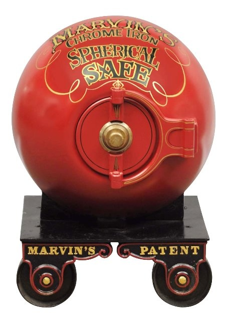 March 30th Auction. From the Guy Zani Jr. Safe Collection: Marvin Chrome Iron Spherical Mini-Cannonball Safe. Circa 1865. Marvin Safe Company was the first maker of the cannonball safes. Weighs approximately 1,300 pounds. #CannonballSafe #GuyZani #MorphyAuctions