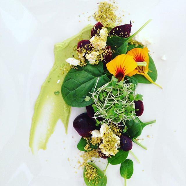 Beetroot and goats feta salad with spinach, brocolli sprouts, limed avocado and a pistachio crumb #equalitycateringco #byronbay #byronbayfood #organicfood #realfood #chefsofinstagram #healthyfood Via @equalitycateringco https://www.instagram.com/p/BJMiUkrAQUO/