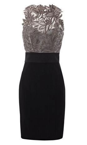 Lovely gray lace and black dress. A jacket would be needed most likely during the work day