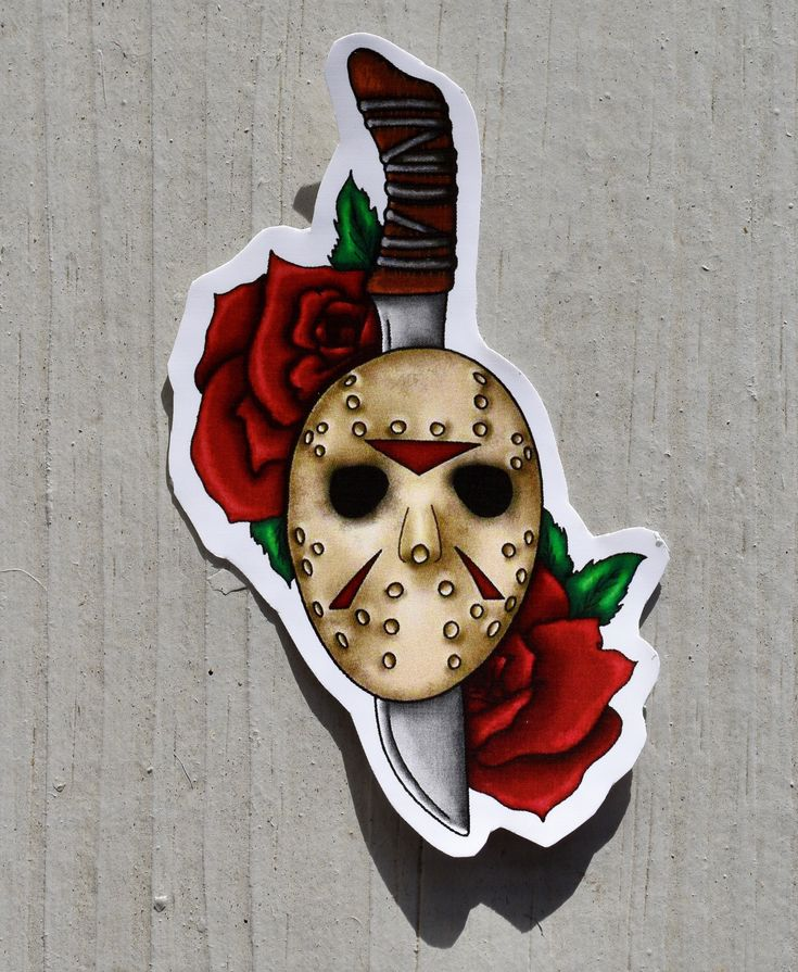Friday the 13th Sticker Jason Voorhees Mask and Machete