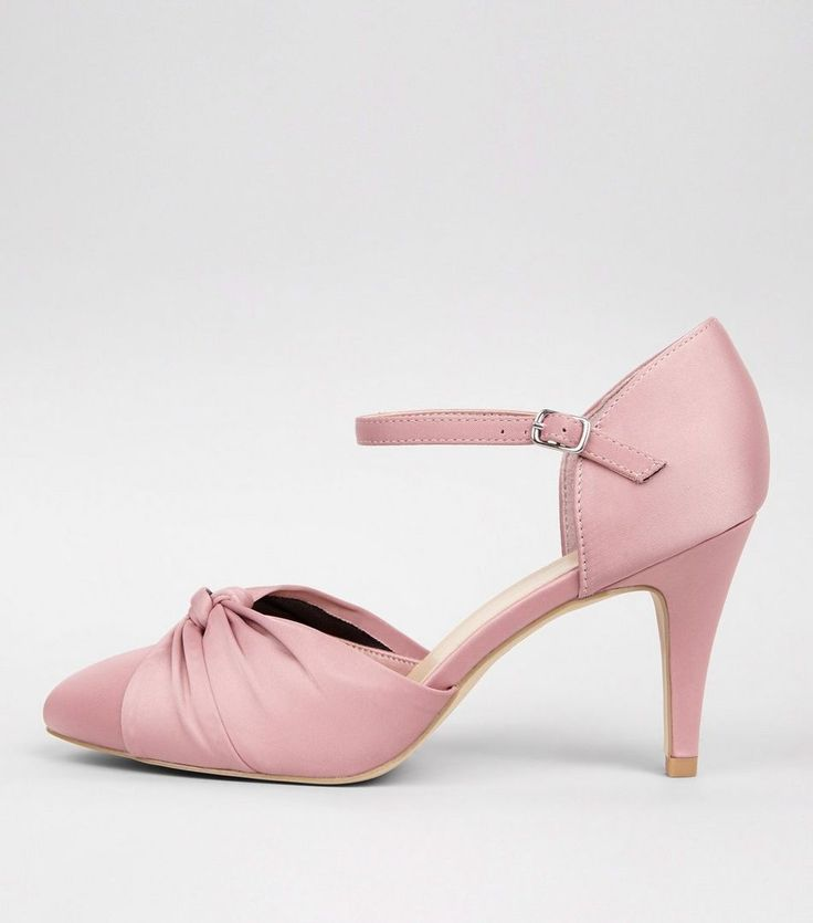 Wide Fit Pink Sateen Knot Front Court Shoes   New Look