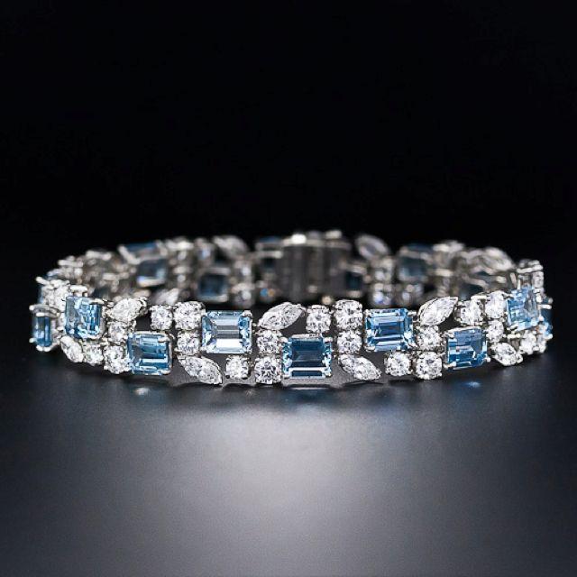 art Deco blue topaz and diamond and platinum bracelet.