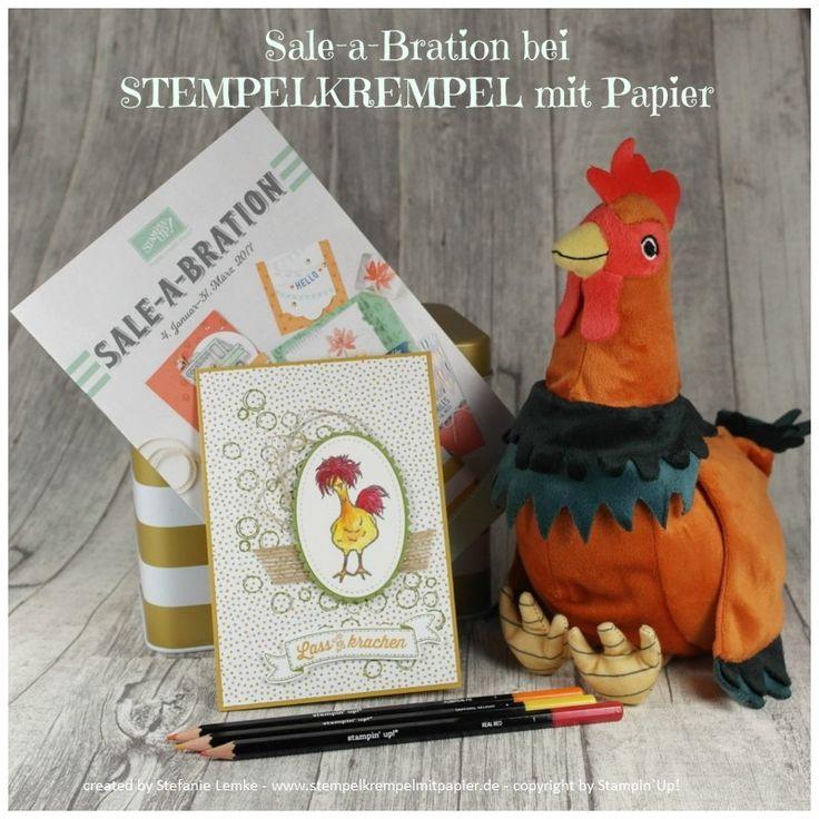 """Stempelkrempel mit Papier, Stampin`Up!, Sale-a-Bration 2017, DIY, Karten basteln, Hühner, Hahn, Aquarell, Geburtstagskarten, Gratis Stempelset """"Das gelbe vom Ei"""", Workshop"""