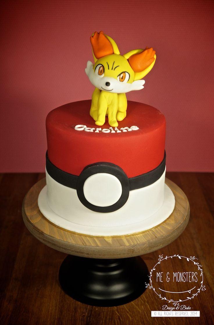 Pokemon Go Theme Cake With Fennekin Fondant Figure Cakes