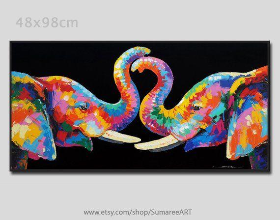 Éléphant coloré peinture acrylique sur toile
