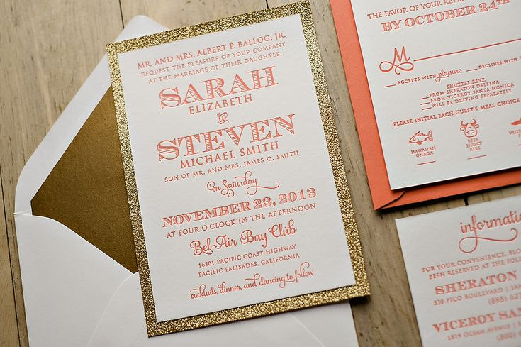 Coral and gold wedding invitation, 2014 wedding trends, glitter wedding invitations
