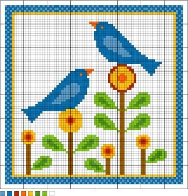 Bluebirds of Happiness Needlepoint Pattern. Free sewing pattern graph for cross stitch or plastic canvas.