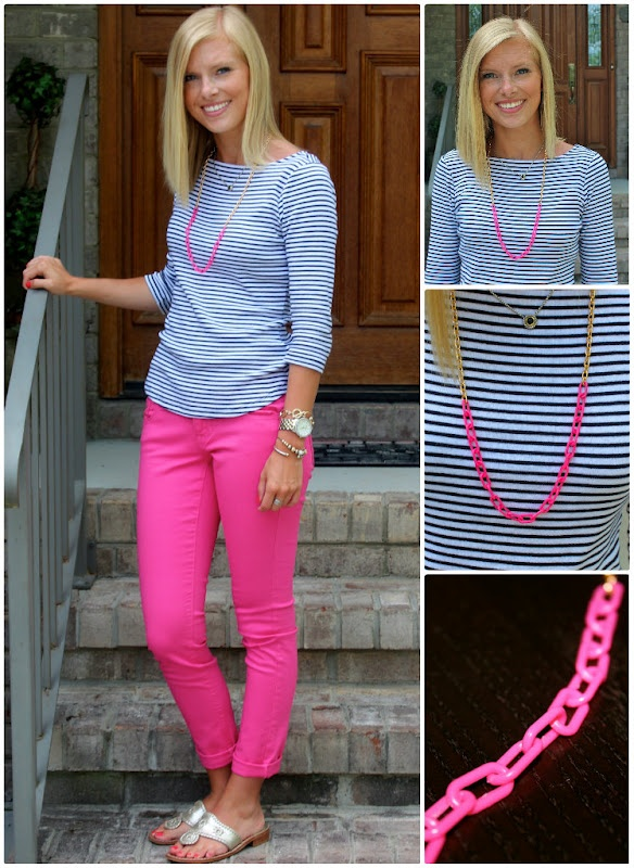 : Navy Color Schemes, Nautical Stripes, Pink Stripes, Navy Stripes, Pink Pants, Hot Pink, Cute Outfit, Pink Jeans, Spring Outfit