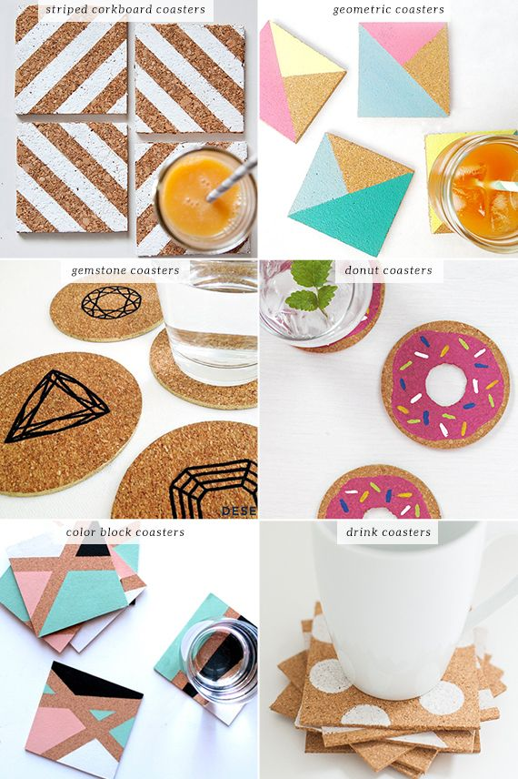 Another craft evening idea - hand painted cork coasters
