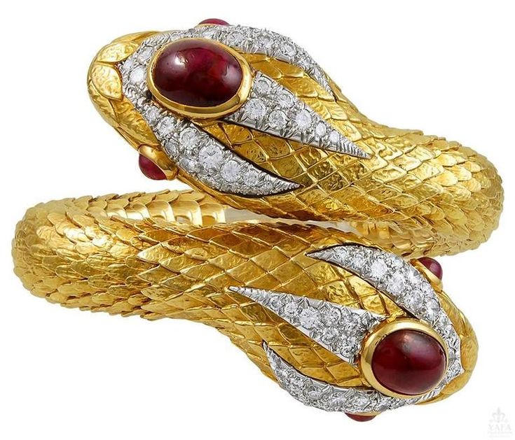 David Webb Cabochon Ruby Diamond Gold Snake Bangle