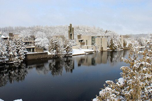 Trent University, Peterborough, Ontario. Beautiful winter morning.  Ron Thom Architect