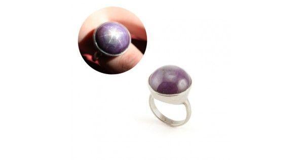 Inel modernist - argint & safir purpuriu cu asterism