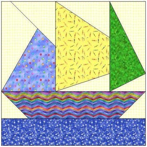 Paper Piercing quilt patterns   ALL STITCHES - SAILING PAPER PIECING QUILT BLOCK PATTERN .PDF -059A