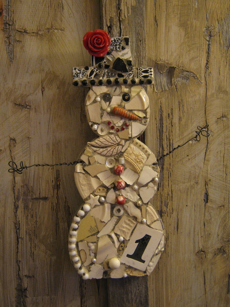 Mosaic Snowman With Rosette, Antique Ceramic House Number, and Wire Arms Mosaic Art.