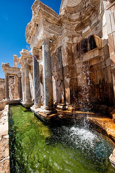 The restored and functioning Antonins Fountain, Sagalassos - Aglasun, Burdur, Turkey.