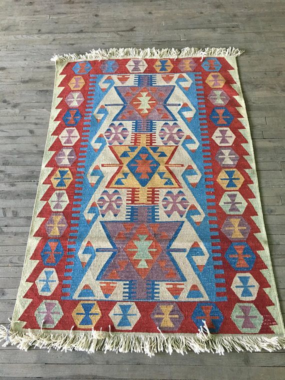 Kilim Rug Turkish Traditional Blue And Red
