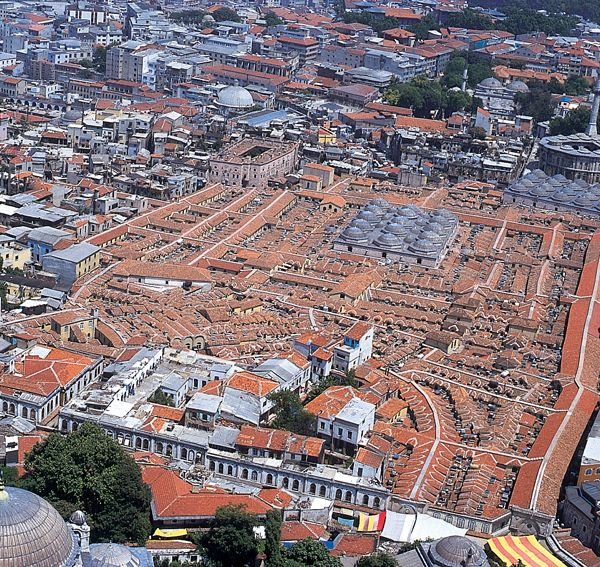 An aerial view of the Grand Bazaar
