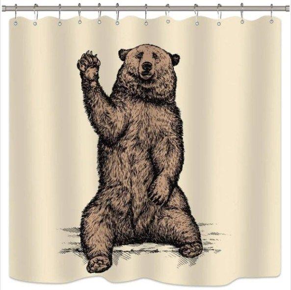 Bear Shower Curtain Bear Bathroom Decor Cute Shower Curtains