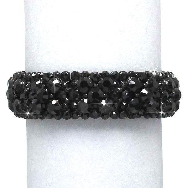 Beautiful Vintage Inspired Jet Black Crystal Rhinestone Bracelet (Sparkle-158-U) #Unbranded