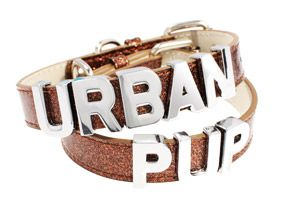 Glitter Brown Personalised Dog Collar (Chrome Letters) | Personalised Dog Collars at UrbanPup.com