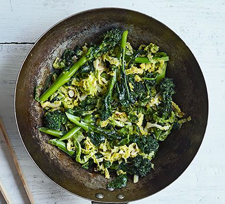 Stir-Fried Greens with Fish Sauce: Cook these salty-sweet stir-fried greens with cabbage and broccoli. It's a quick and easy Asian-style side dish where the fish sauce lends depth of flavour.