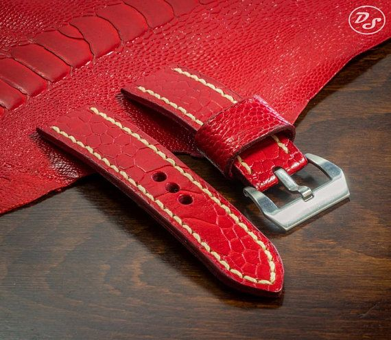 Handmade Glazed Red Ostrich leg leather watch strap 20 22 24 26 mm Made in Italy