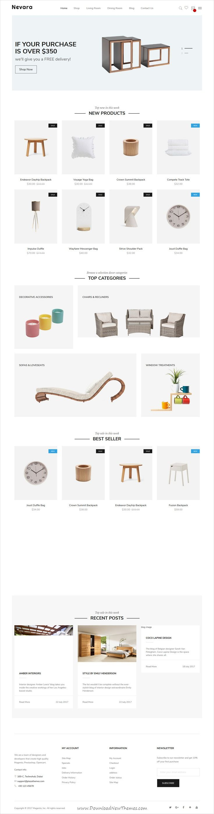 Nevara is clean and modern design 4in1 responsive #Magento 2 theme for awesome #furniture, decor and interior #shop eCommerce website download now..