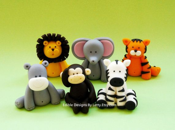 6 edible fondant jungle animals cake cupcake toppers via for Animal cake decoration