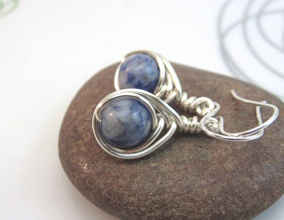 Sodalite earrings   wire wrapped gemstone earrings  blue