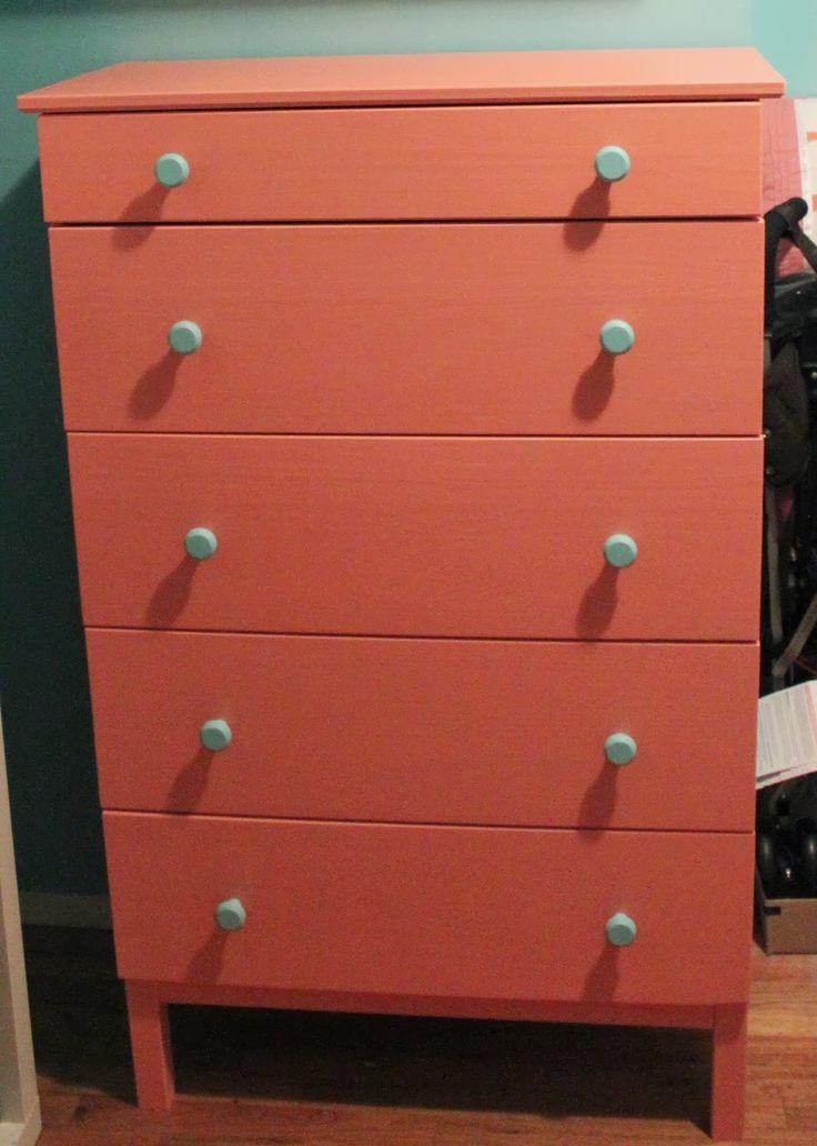 My Coral Dresser With Blue Knobs Ikea Tarva 50 5 Drawer Dresser Paint