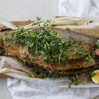 Oven Baked Ocean Trout with Sourdough, Thyme & Lemon Stuffing - Maggie Beer