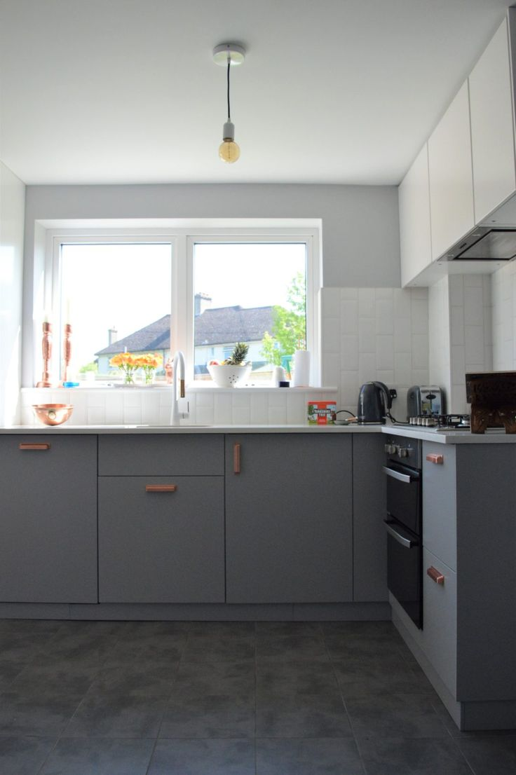 IKEA Grey And White Kitchen With Copper Hardware In 2019