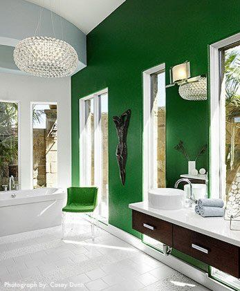 Modern white green bathroom palette color scheme in Symphony Showhouse