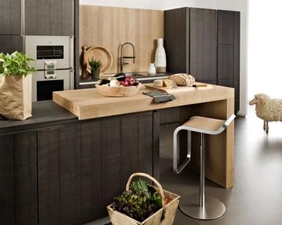 Kitchen Island. ilot de la cuisine cannelle avec plan snack en bois de darty