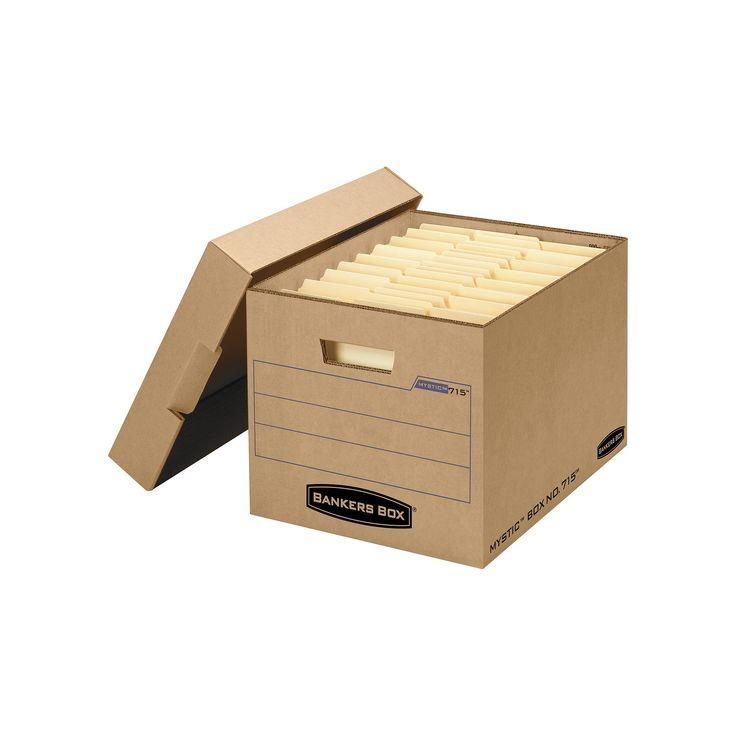 Bankers Box Filing Storage Box with Locking Lid, Letter/Legal, Kraft, 25/Carton, Wood