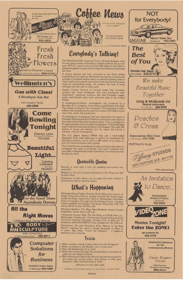 Coffee News Free One Sheet Newspaper W Random Local