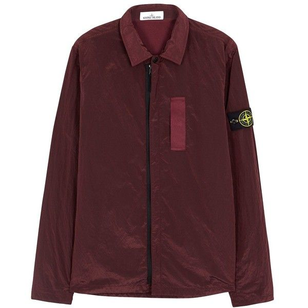 Stone Island Burgundy Shell Jacket - Size L (1.210 BRL) ❤ liked on Polyvore featuring men's fashion, men's clothing, men's outerwear, men's jackets, mens burgundy jacket and mens shell jacket
