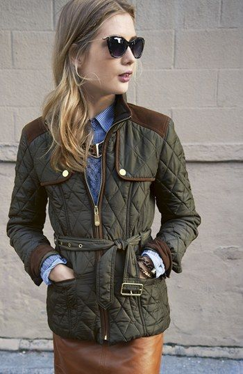 Fall trend: Quilted jacket paired with a leather skirt #vincecamuto