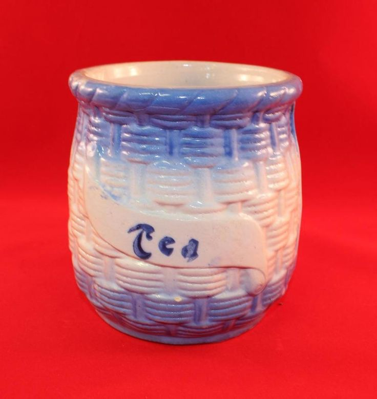 Brush McCoy Pottery Stoneware Blue & White Willow Blue Flemish TEA Canister