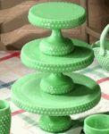 !: Milk Glass, Color, Green, Hobnail Cake, Cake Stands, Depression Glass, Cake Plates