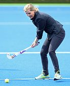 Sophie Countess of Wessex Patron of England Hockey plays hockey during a visit to England Hockey at the Bisham Abbey National Sports Centre on April...