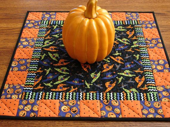 Quilted Halloween Table Topper or Wall Hanging by susiquilts