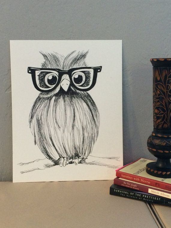 The Hipster Owl  Ink drawing of owl wearing by OctopusandTheOwl