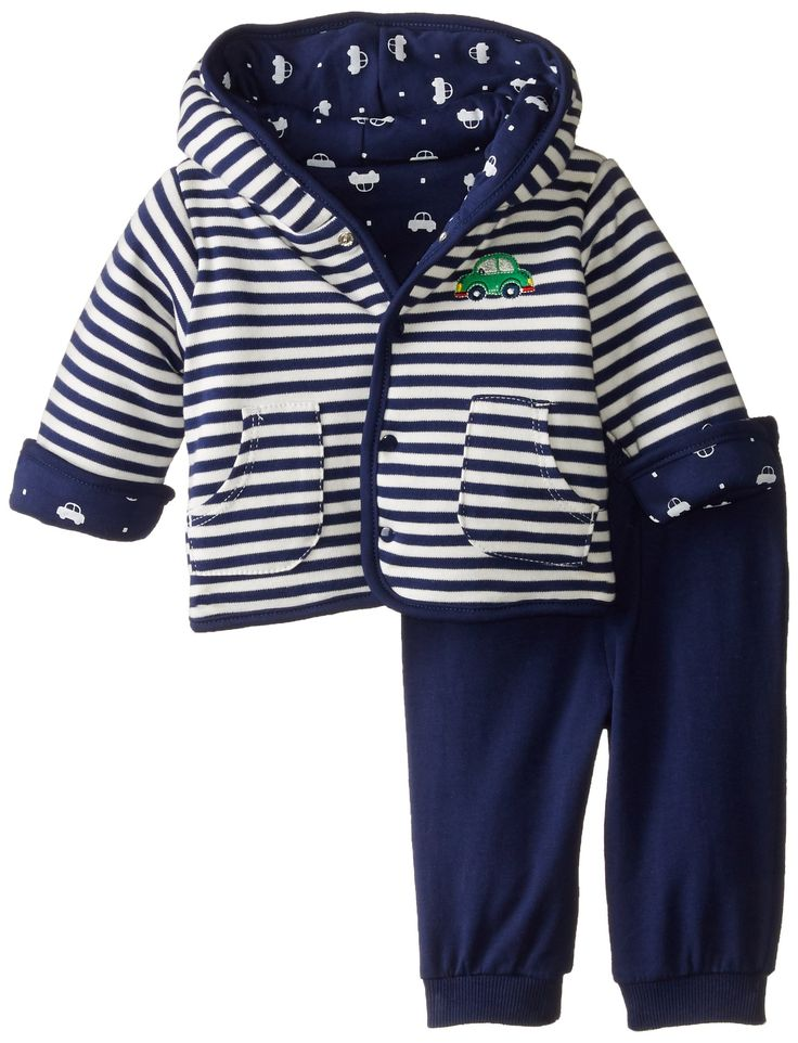 Little Me Baby-Boys Newborn Cars Jacket Set, Navy/Multi, 12 Months
