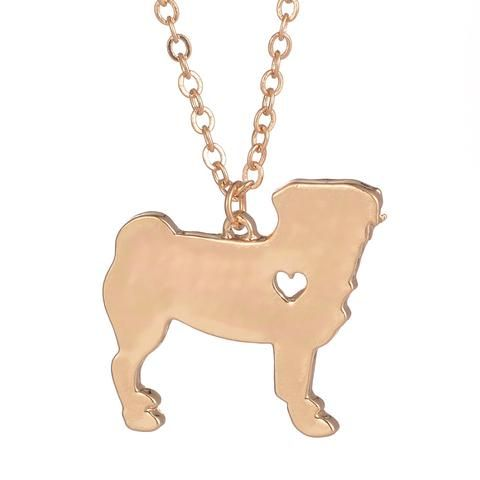 BASICS. Gold Or Silver Pug Necklace