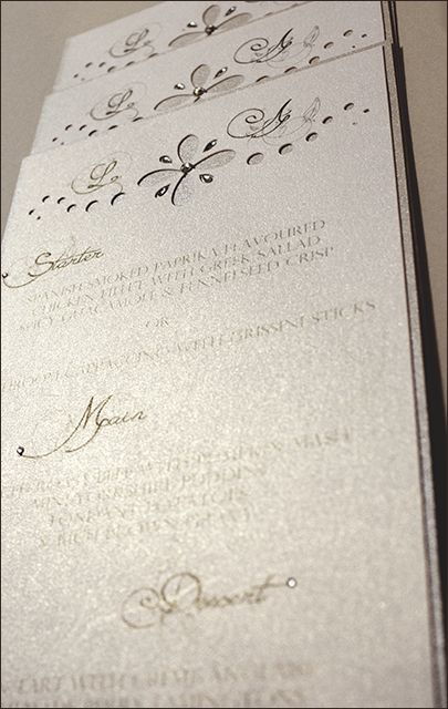 Chrystal Sparkle Menu Card - d3tinvitations  #wedding stationery #wedding menu cards #wedding silver menu