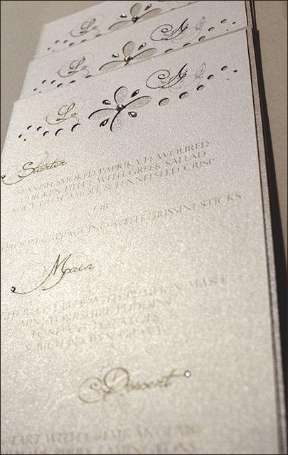 Chrystal Sparkle Menu Card - d3tinvitations  #wedding stationery #wedding menu cards #wedding silver menu