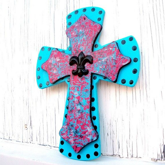 Turquoise and Hot Pink Wooden Cross Wall Decor